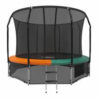 Батут с защитной сеткой Space Green/Orange 12FT